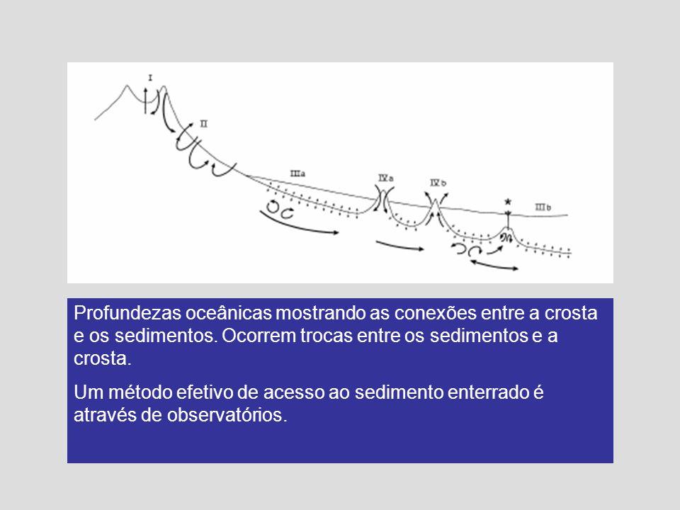 Profundezas oceânicas mostrando as conexões entre a crosta e os sedimentos. Ocorrem trocas entre os sedimentos e a crosta.