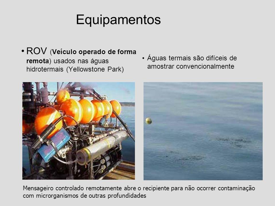 Equipamentos ROV (Veículo operado de forma remota) usados nas águas hidrotermais (Yellowstone Park)