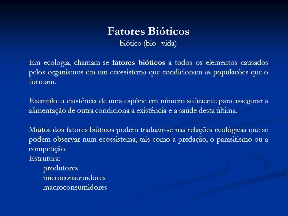 Fatores Bióticos biótico (bio=vida)