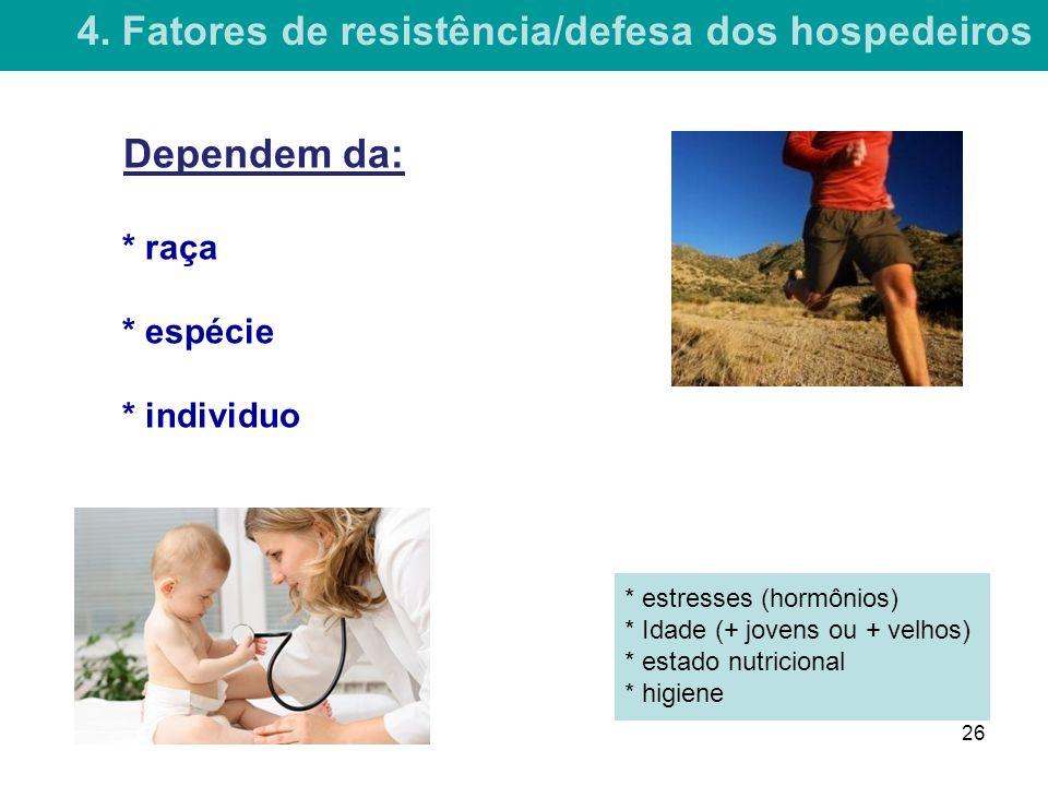 4. Fatores de resistência/defesa dos hospedeiros