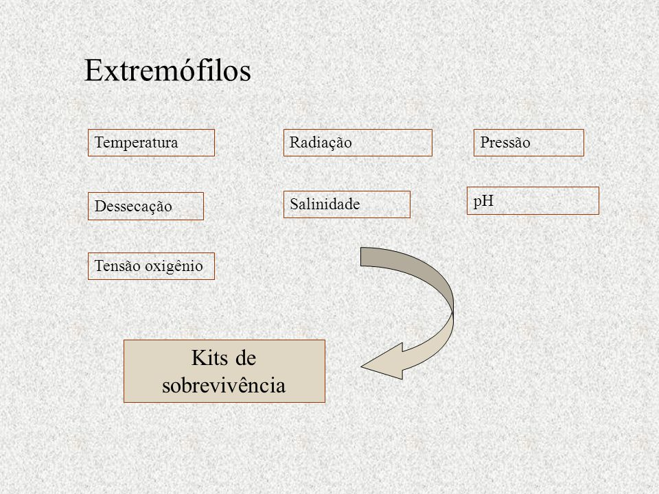 Extremófilos Kits de sobrevivência Temperatura Radiação Pressão pH