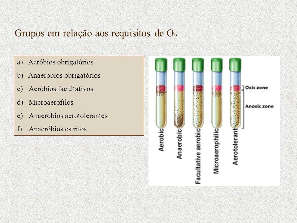 Grupos em relação aos requisitos de O2