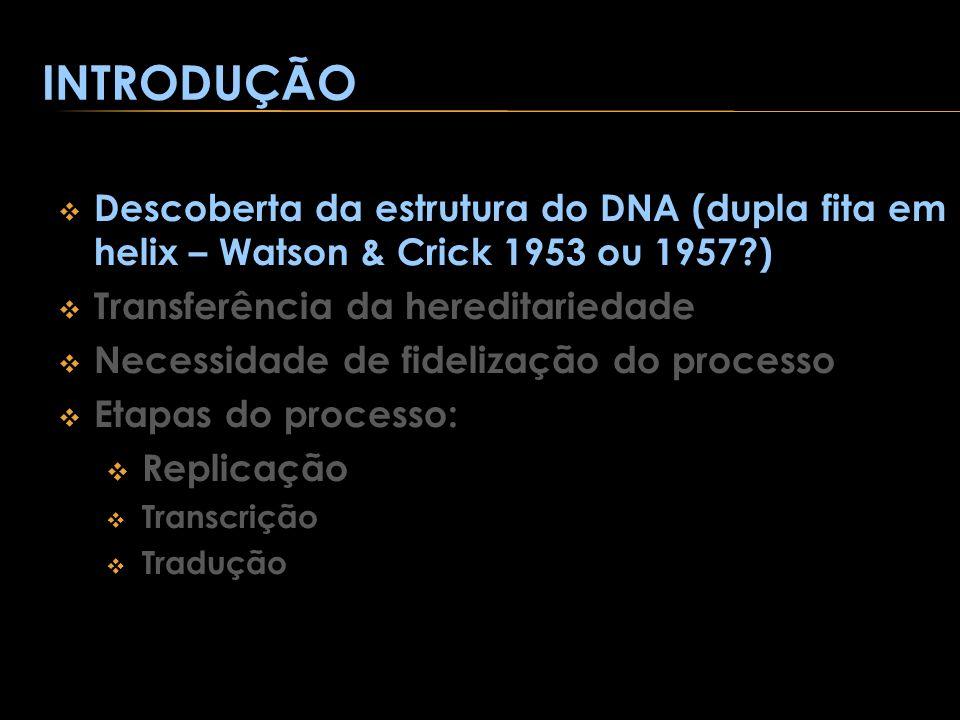 INTRODUÇÃO Descoberta da estrutura do DNA (dupla fita em helix – Watson & Crick 1953 ou 1957 ) Transferência da hereditariedade.