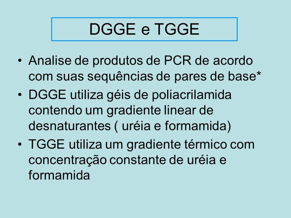 DGGE e TGGE Analise de produtos de PCR de acordo com suas sequências de pares de base*