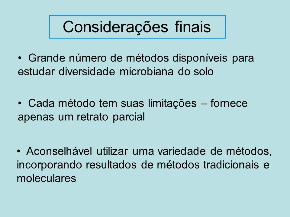 Considerações finais • Grande número de métodos disponíveis para estudar diversidade microbiana do solo.