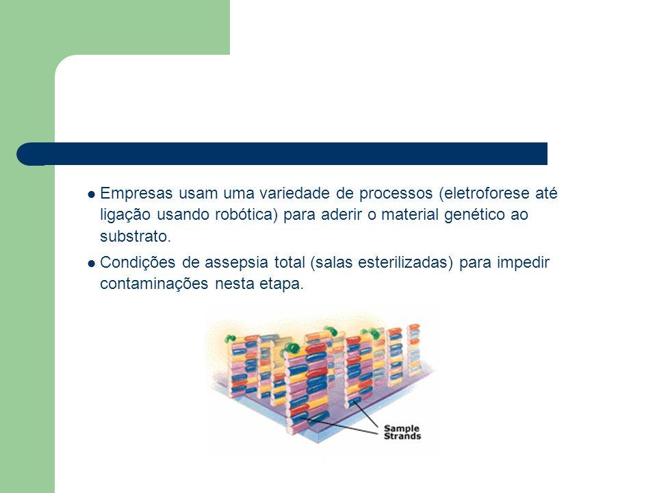 Empresas usam uma variedade de processos (eletroforese até ligação usando robótica) para aderir o material genético ao substrato.