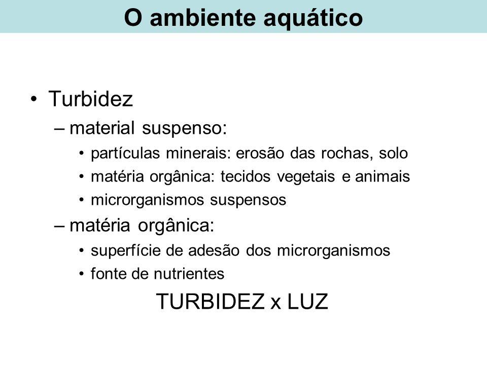 O ambiente aquático Turbidez TURBIDEZ x LUZ material suspenso: