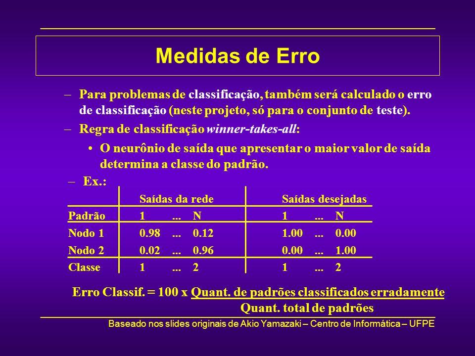 Medidas de ErroPara problemas de classificação, também será calculado o erro de classificação (neste projeto, só para o conjunto de teste).