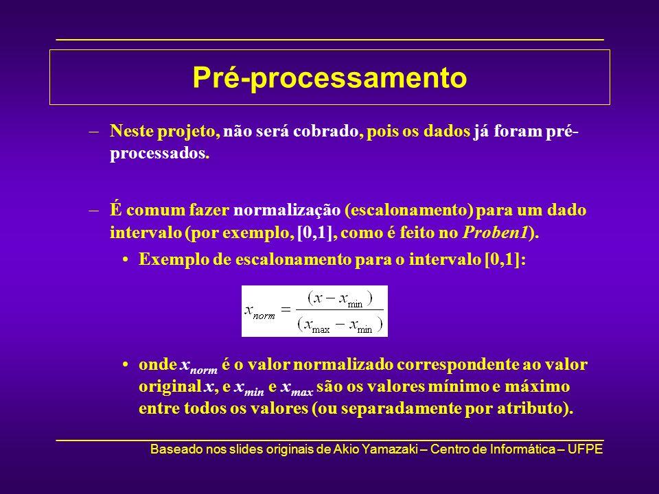 Pré-processamento Neste projeto, não será cobrado, pois os dados já foram pré-processados.