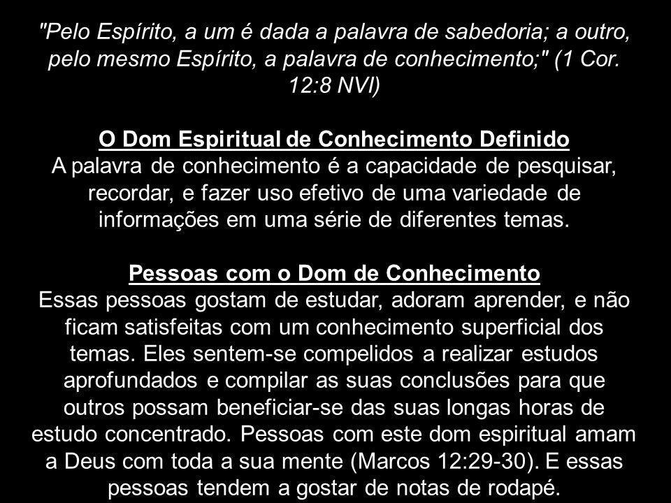 O Dom Espiritual de Conhecimento Definido