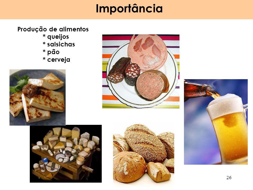 Importância Produção de alimentos * queijos * salsichas * pão