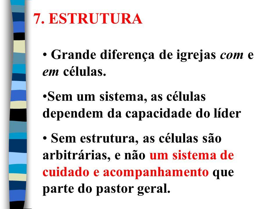 7. ESTRUTURA Grande diferença de igrejas com e em células.