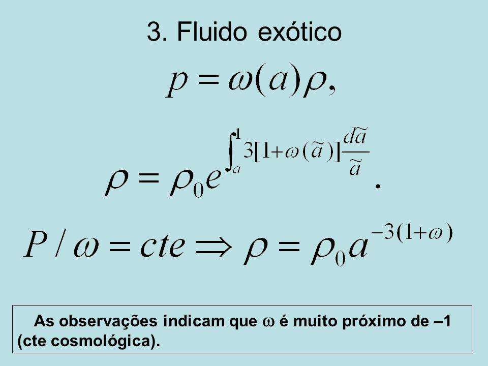 3. Fluido exótico As observações indicam que w é muito próximo de –1 (cte cosmológica).
