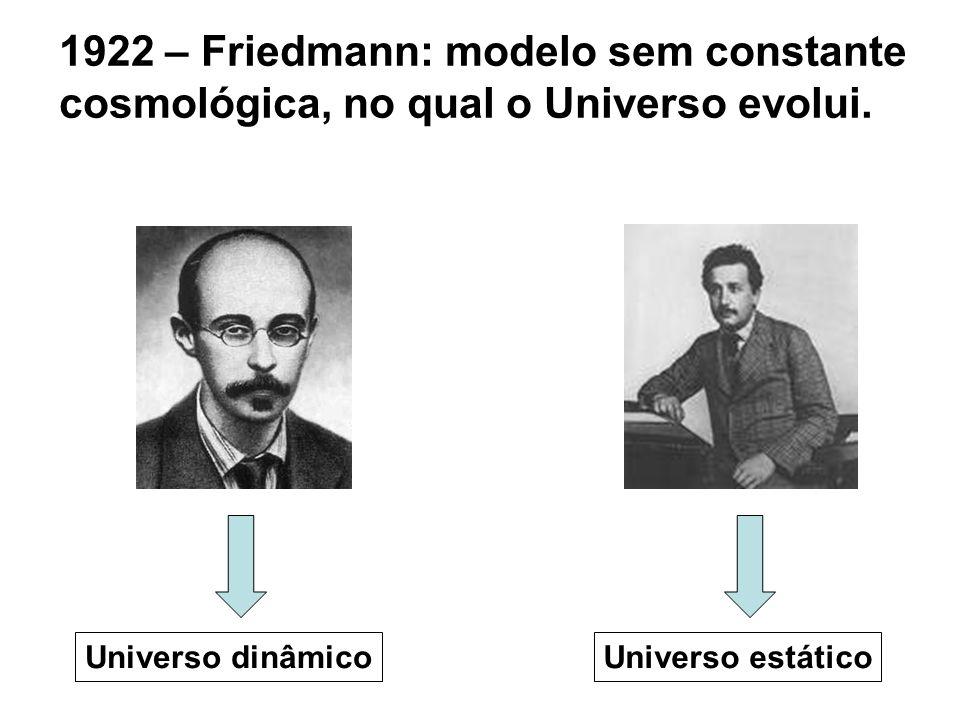 1922 – Friedmann: modelo sem constante