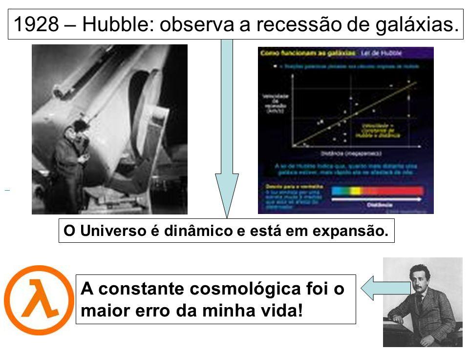 1928 – Hubble: observa a recessão de galáxias.