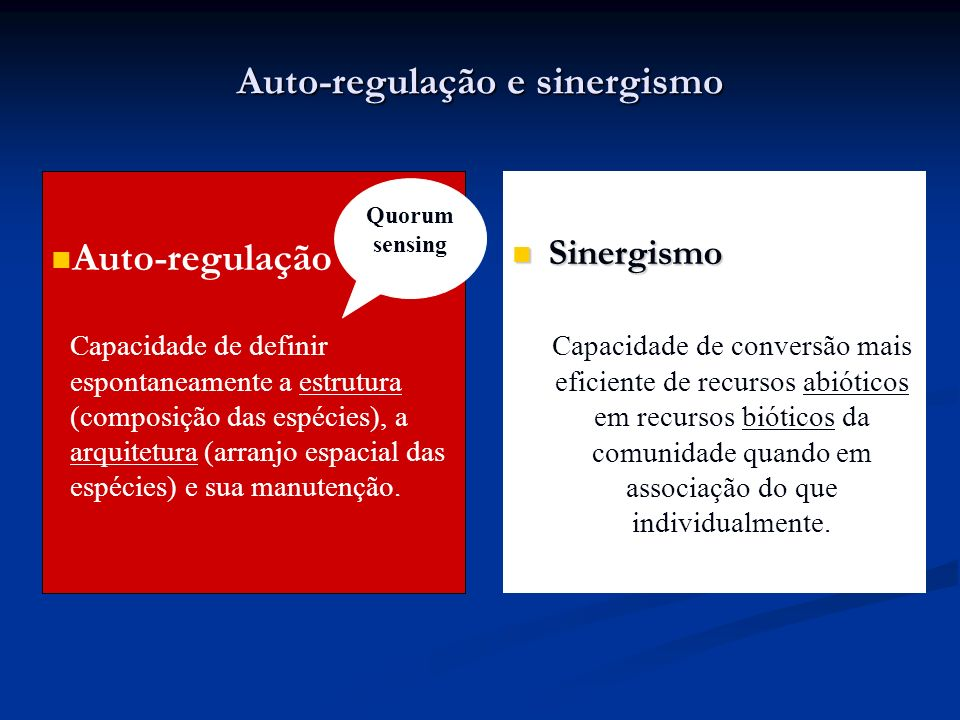 Auto-regulação e sinergismo