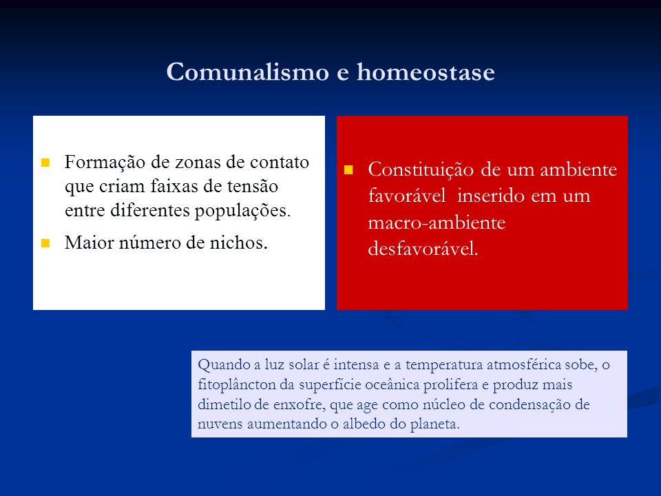 Comunalismo e homeostase