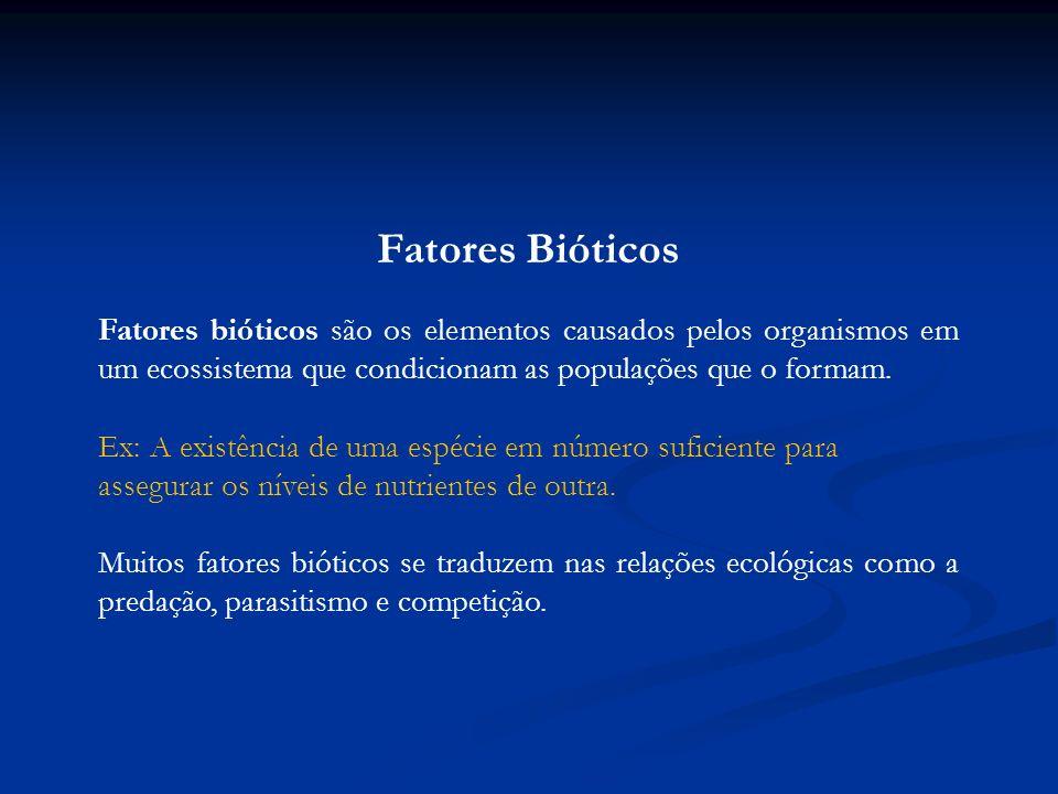 Fatores Bióticos Fatores bióticos são os elementos causados pelos organismos em um ecossistema que condicionam as populações que o formam.