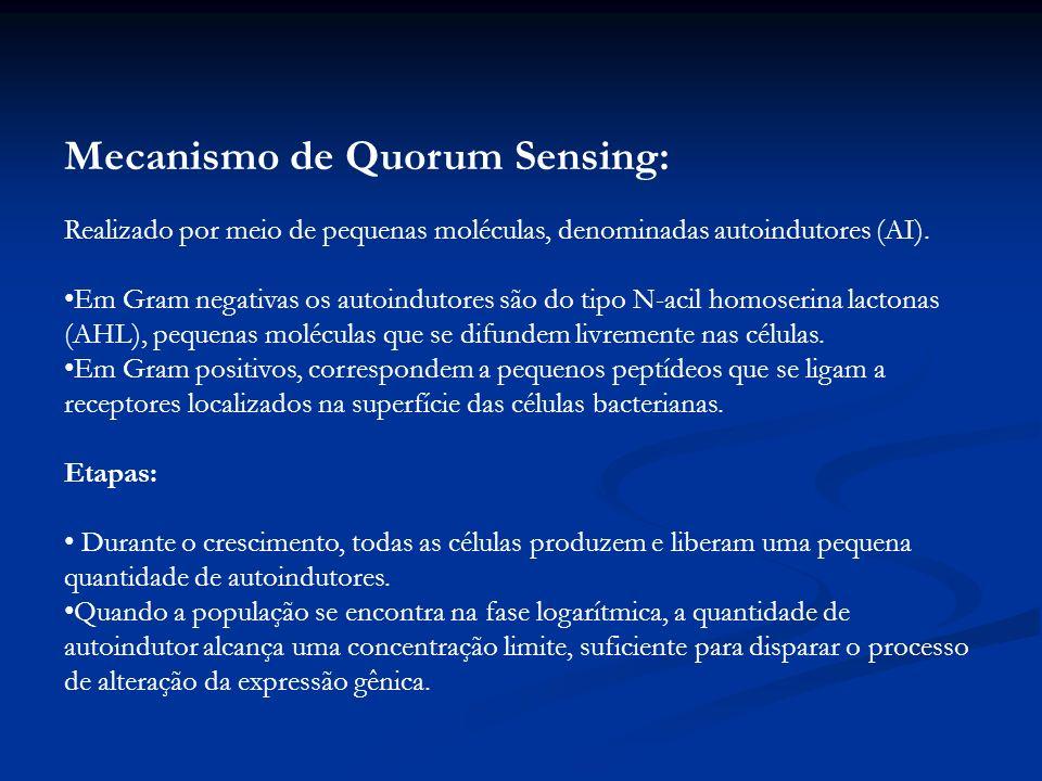 Mecanismo de Quorum Sensing: Realizado por meio de pequenas moléculas, denominadas autoindutores (AI).