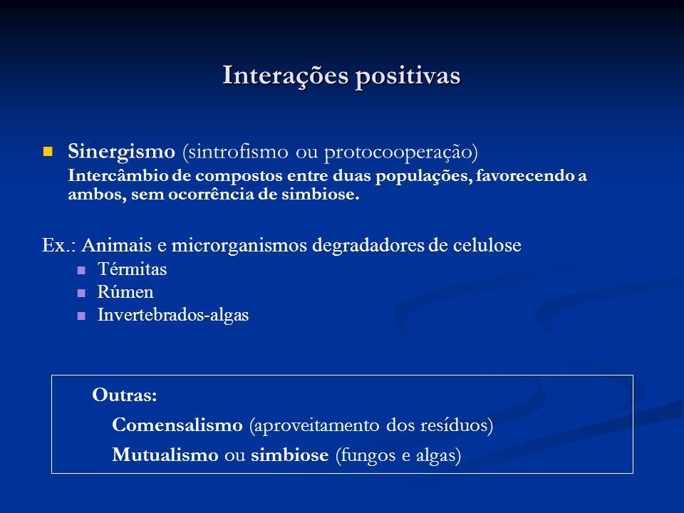 Interações positivas Sinergismo (sintrofismo ou protocooperação)