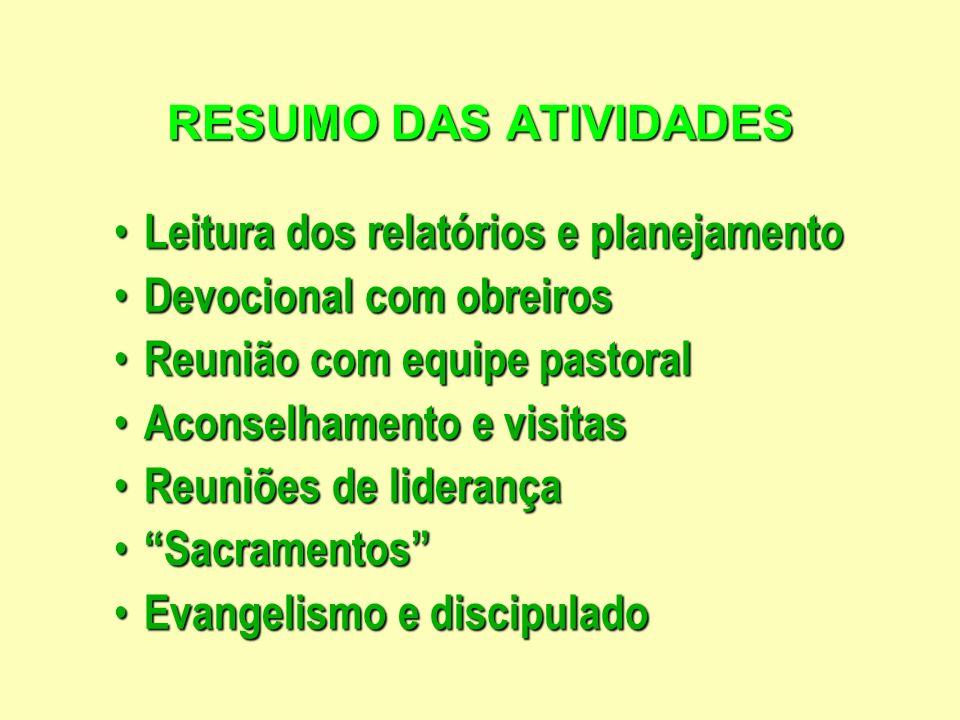 RESUMO DAS ATIVIDADESLeitura dos relatórios e planejamento. Devocional com obreiros. Reunião com equipe pastoral.