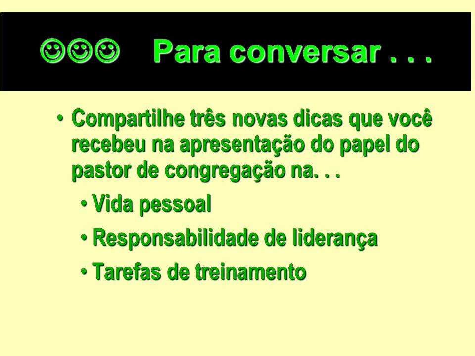 Para conversar . . .Compartilhe três novas dicas que você recebeu na apresentação do papel do pastor de congregação na. . .