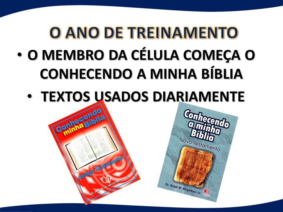 O ANO DE TREINAMENTO O MEMBRO DA CÉLULA COMEÇA O CONHECENDO A MINHA BÍBLIA.