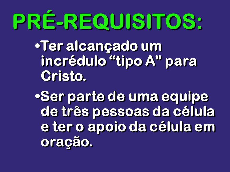 PRÉ-REQUISITOS: •Ter alcançado um incrédulo tipo A para Cristo.
