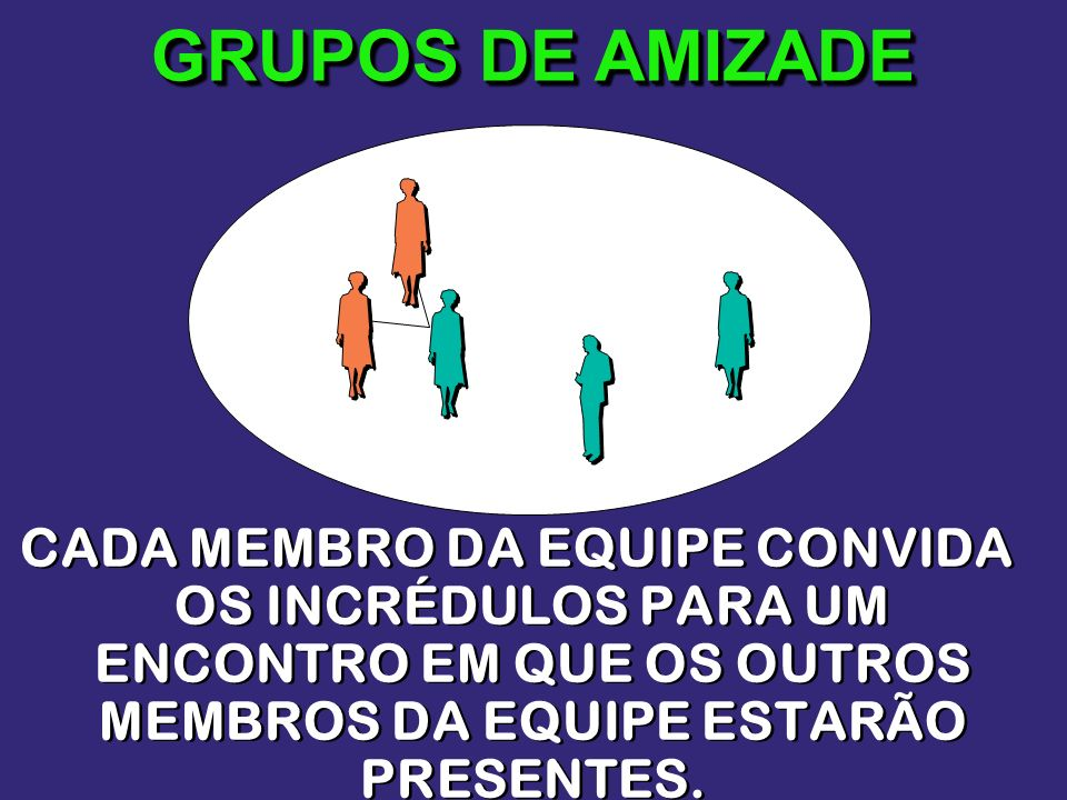 GRUPOS DE AMIZADECADA MEMBRO DA EQUIPE CONVIDA OS INCRÉDULOS PARA UM ENCONTRO EM QUE OS OUTROS MEMBROS DA EQUIPE ESTARÃO PRESENTES.