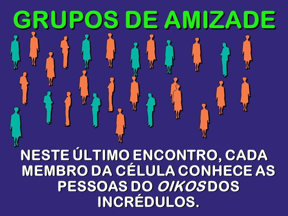 GRUPOS DE AMIZADENESTE ÚLTIMO ENCONTRO, CADA MEMBRO DA CÉLULA CONHECE AS PESSOAS DO OIKOS DOS INCRÉDULOS.