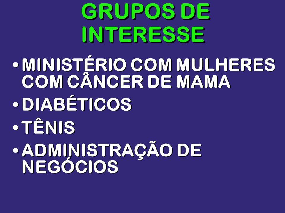 GRUPOS DE INTERESSE MINISTÉRIO COM MULHERES COM CÂNCER DE MAMA