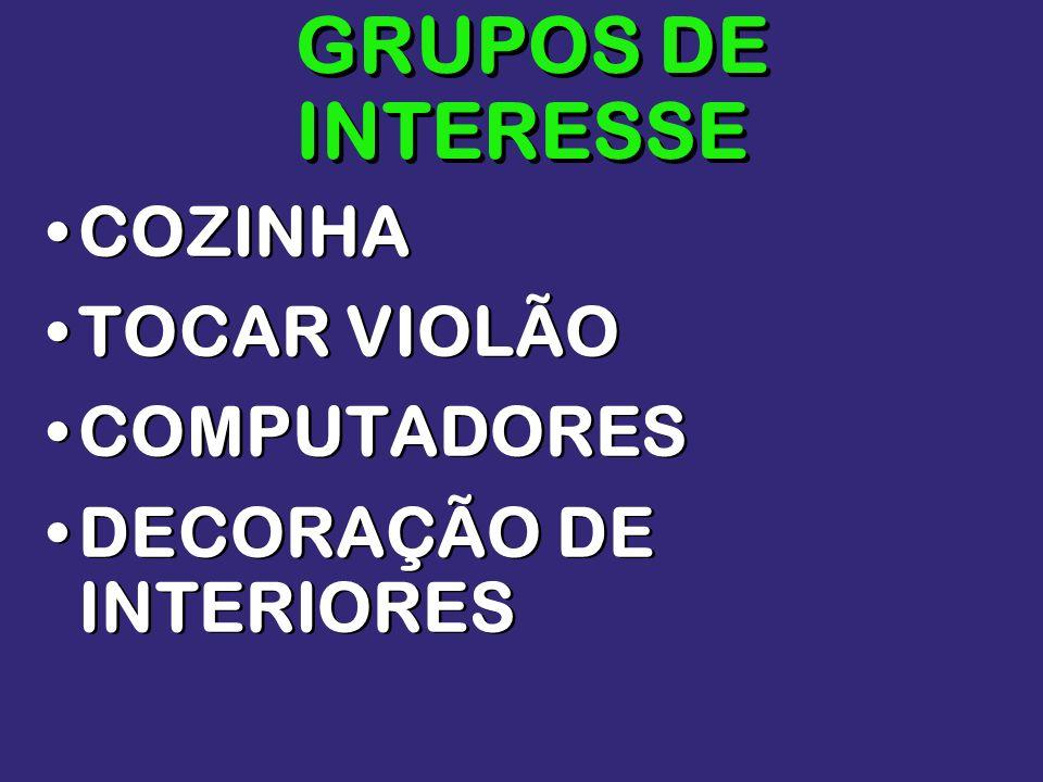 GRUPOS DE INTERESSE COZINHA TOCAR VIOLÃO COMPUTADORES