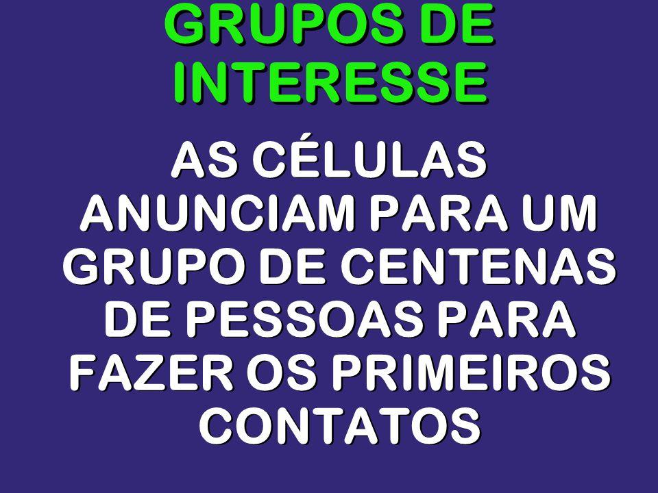 GRUPOS DE INTERESSE AS CÉLULAS ANUNCIAM PARA UM GRUPO DE CENTENAS DE PESSOAS PARA FAZER OS PRIMEIROS CONTATOS.