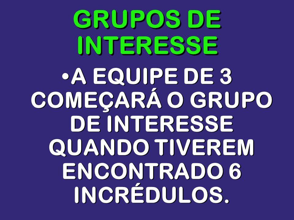 GRUPOS DE INTERESSEA EQUIPE DE 3 COMEÇARÁ O GRUPO DE INTERESSE QUANDO TIVEREM ENCONTRADO 6 INCRÉDULOS.