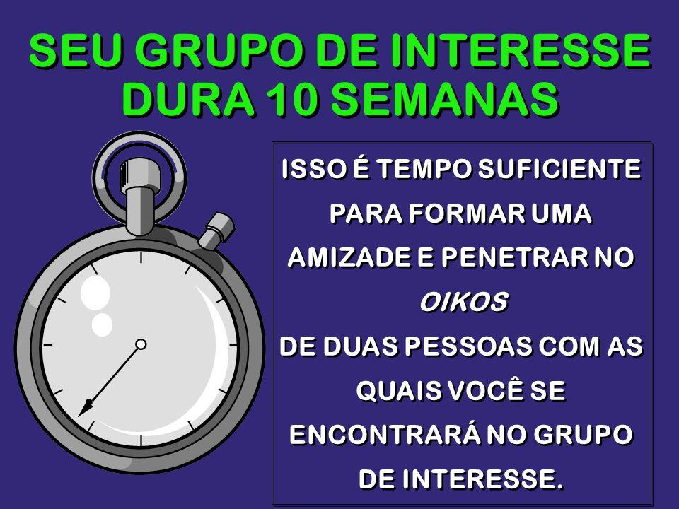 SEU GRUPO DE INTERESSE DURA 10 SEMANAS