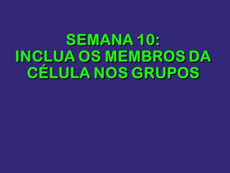 SEMANA 10: INCLUA OS MEMBROS DA CÉLULA NOS GRUPOS
