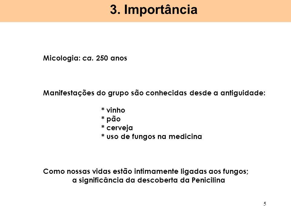 3. Importância Micologia: ca. 250 anos