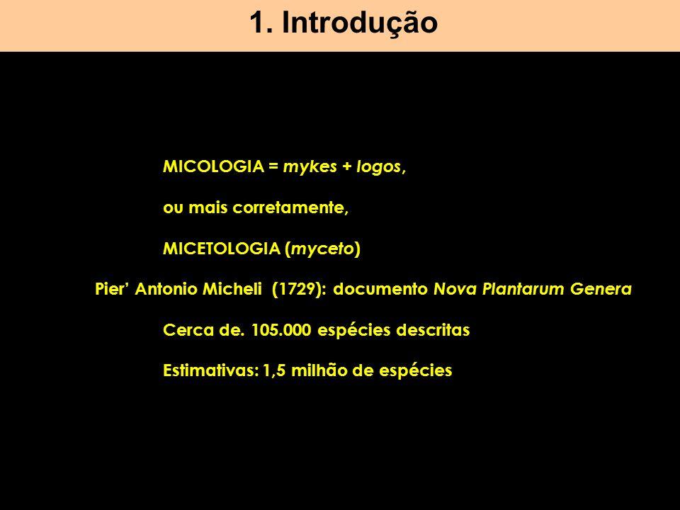 1. Introdução MICOLOGIA = mykes + logos, ou mais corretamente,