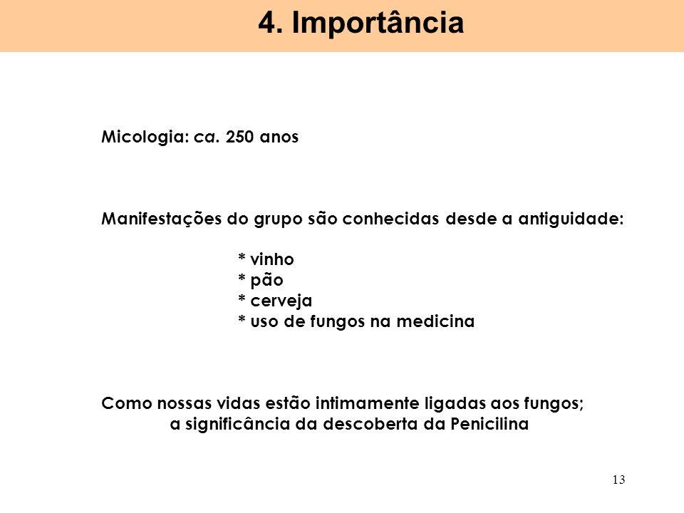 4. Importância Micologia: ca. 250 anos
