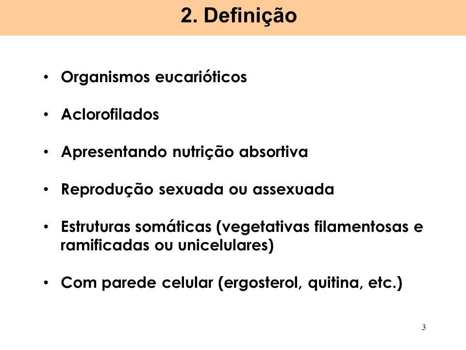 2. Definição Organismos eucarióticos Aclorofilados
