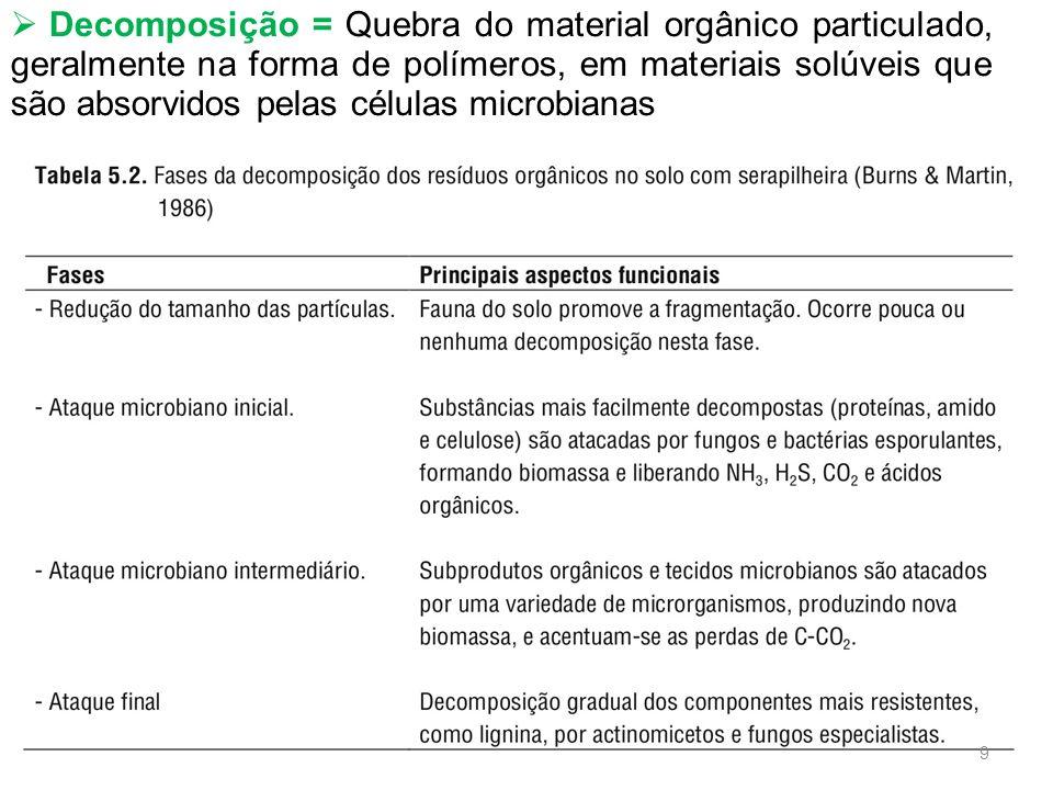 Decomposição = Quebra do material orgânico particulado, geralmente na forma de polímeros, em materiais solúveis que são absorvidos pelas células microbianas