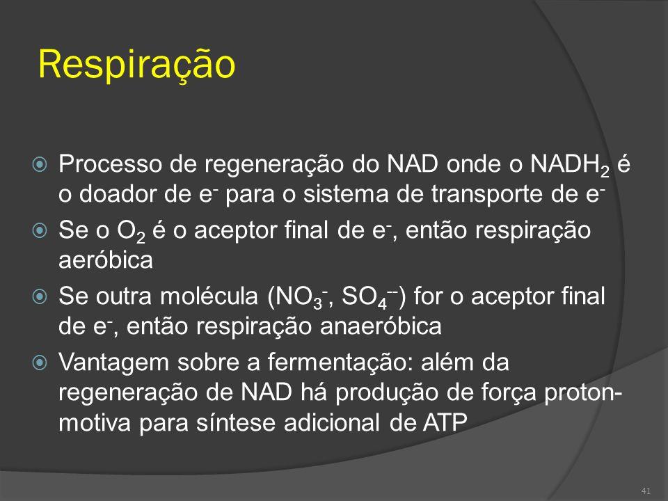 Respiração Processo de regeneração do NAD onde o NADH2 é o doador de e- para o sistema de transporte de e-