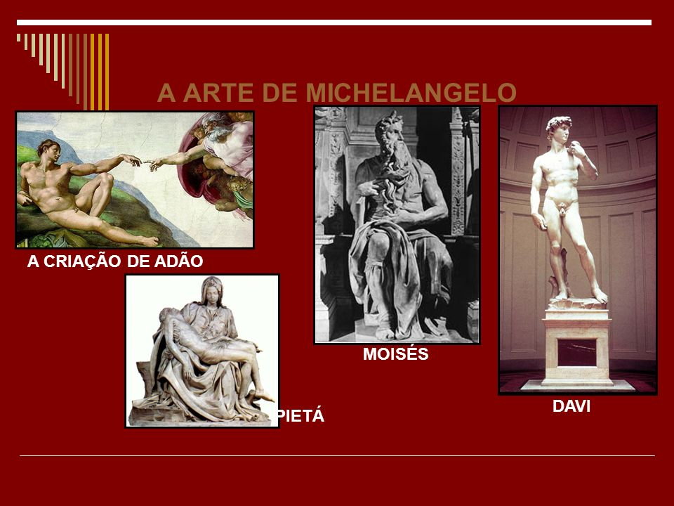 A ARTE DE MICHELANGELO A CRIAÇÃO DE ADÃO MOISÉS DAVI PIETÁ