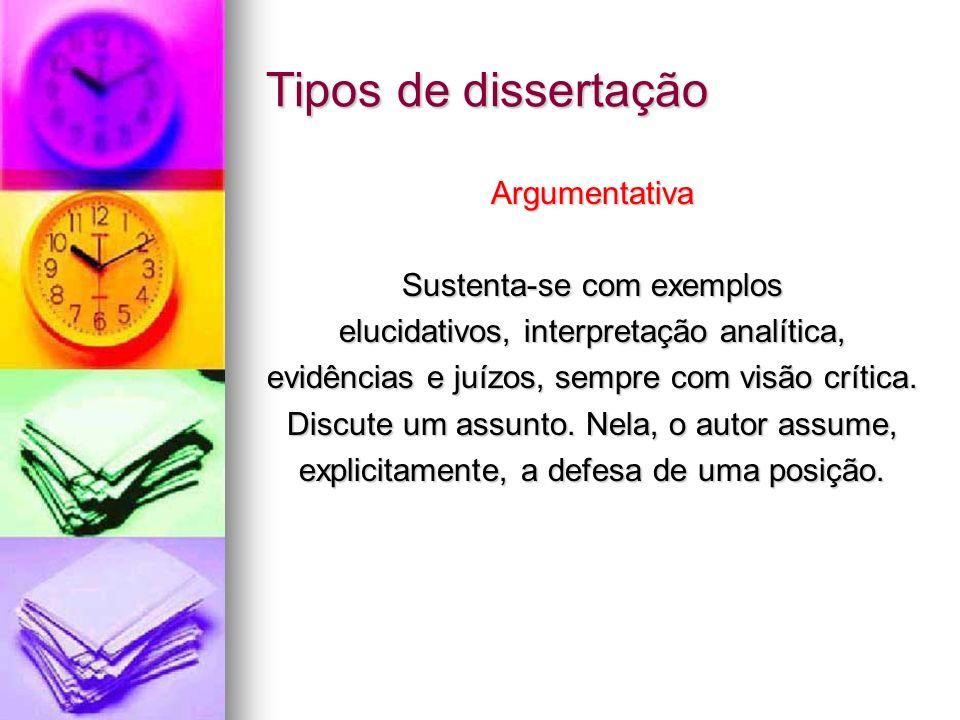 Tipos de dissertação Argumentativa Sustenta-se com exemplos