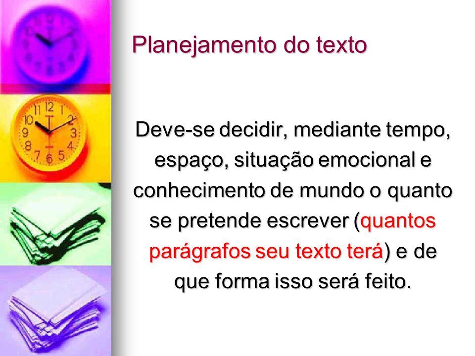 Planejamento do texto Deve-se decidir, mediante tempo,