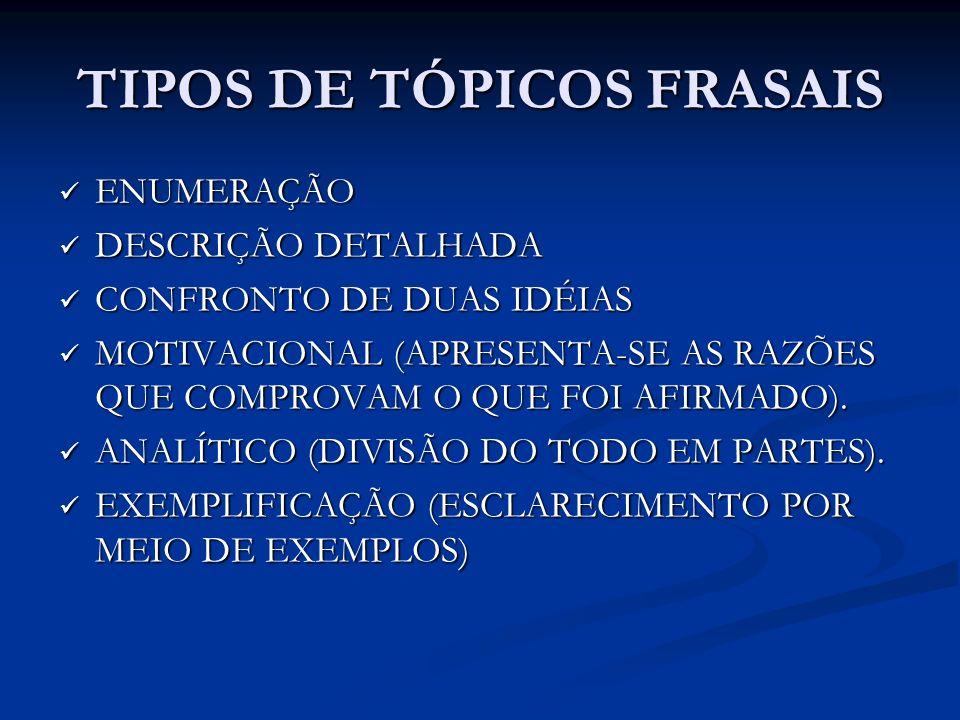 TIPOS DE TÓPICOS FRASAIS