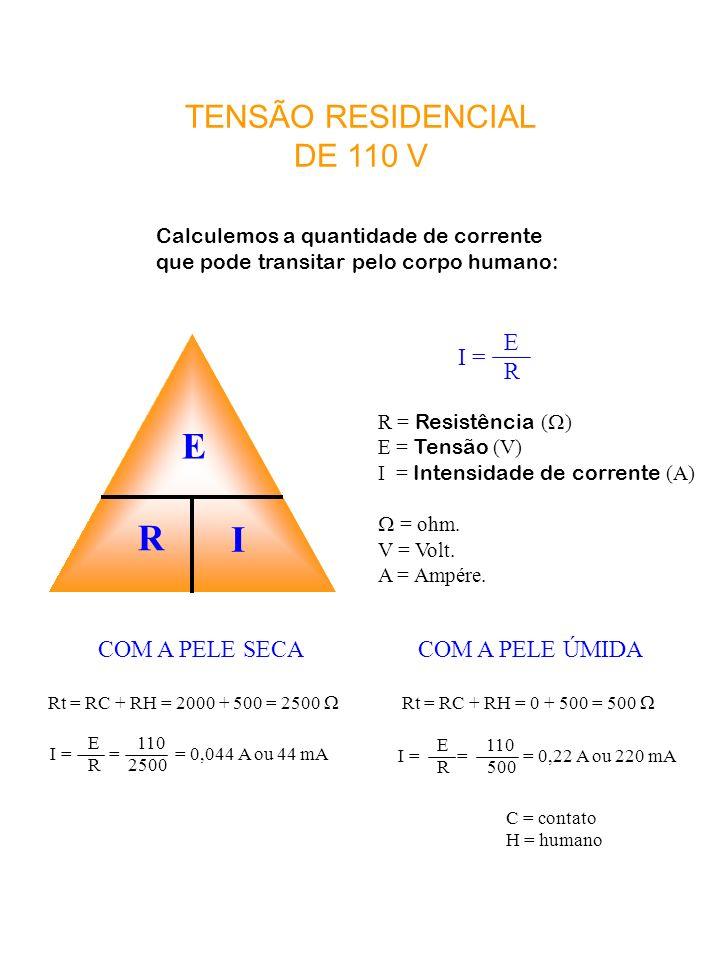 E R I TENSÃO RESIDENCIAL DE 110 V I = E R COM A PELE SECA