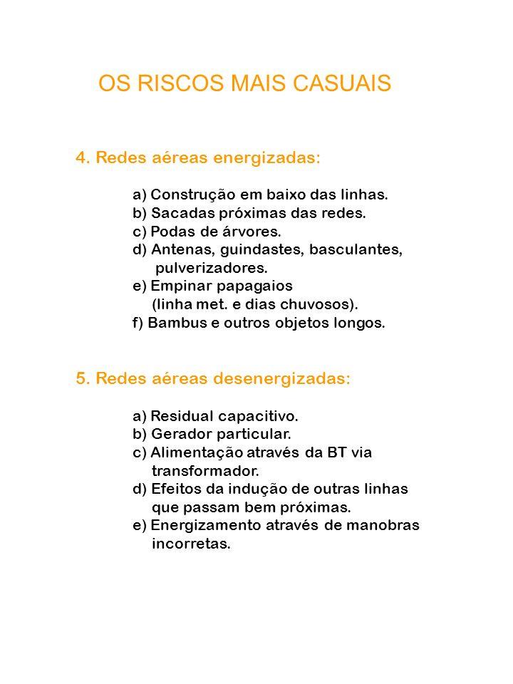 OS RISCOS MAIS CASUAIS 4. Redes aéreas energizadas: