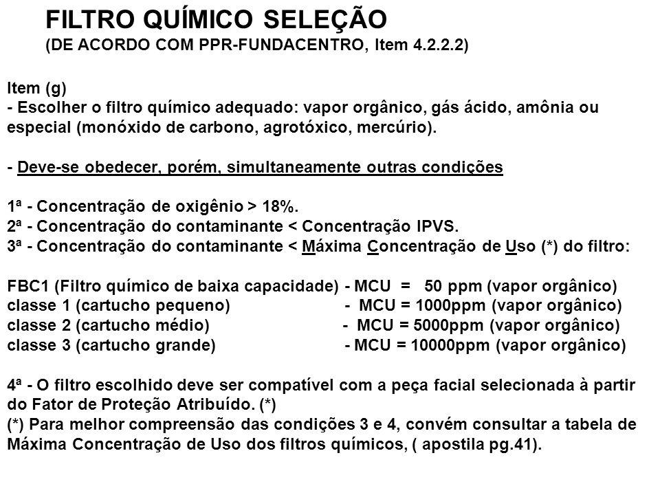 FILTRO QUÍMICO SELEÇÃO (DE ACORDO COM PPR-FUNDACENTRO, Item 4.2.2.2)