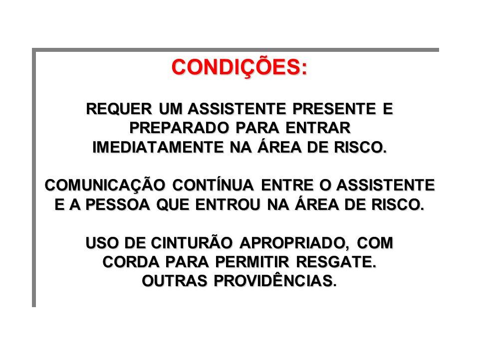 CONDlÇÕES: REQUER UM ASSISTENTE PRESENTE E PREPARADO PARA ENTRAR IMEDIATAMENTE NA ÁREA DE RISCO.